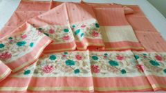 Designer Peach Kota Cotton Embroidered Saree KCS101