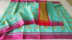 Designer Green Kota Cotton Polca Doted Saree KCS86