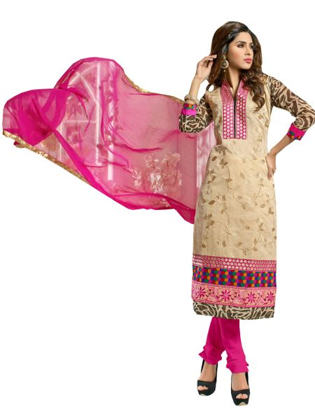 Cream Chanderi Cotton Straight Cut Suit