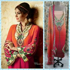 Designer Digital Printed Satin Kurta with Chiffon Dupatta Fabric Only Heer5707