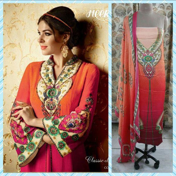 Designer Digital Printed Satin Kurta with Chiffon Dupatta Fabric Only Heer5707