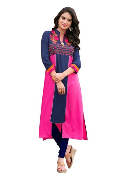 Designer Rayon Cotton Blue Embroidered Long Kurta Kurti Size XL SCKS205