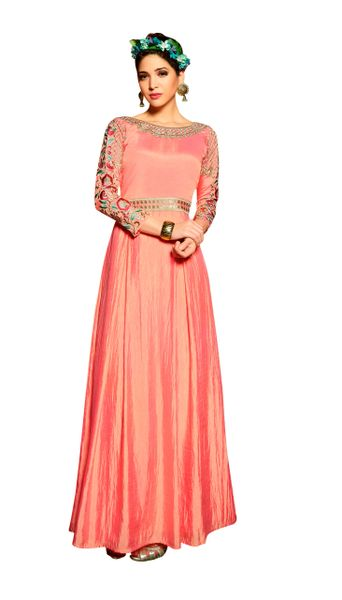 Designer Ready to Wear Pink Slub Satin Silk Embroidered Long Gown Dress Size 42 A423