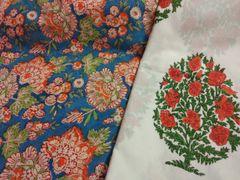 Exclusive Block Printed Kurta Palazo Pant Mughal Butta Fabric Only BP35
