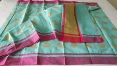 Designer Blue Kota Cotton Polca Doted Saree KCS85