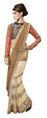 Designer Wedding Partywear Metallic Net Golden Saree SC12009