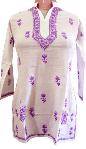 White Chikankari Lucknowi Top