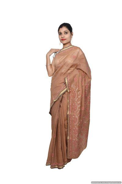 Designer Brown Chikankari Embroidered Cotton saree