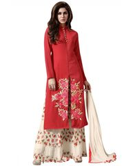 Designer Red Georgette Embroidered Dress Material With Chiffon Dupatta M1127
