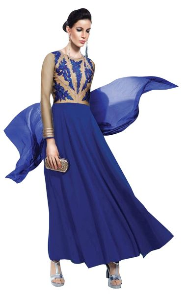 Designer Blue Georgette Embroidered Dress Material With Chiffon Dupatta B7141