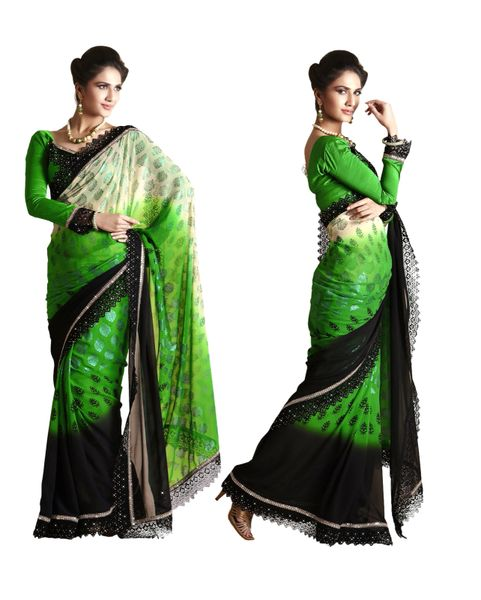 Green Georgette Saree SCA25006