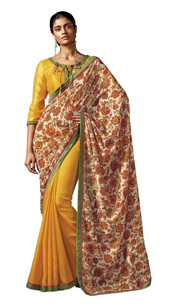Yellow Brown Floral Print Cotton Silk Saree