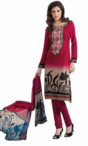 Maroon Winter Pashmina Embroidered Dress Material