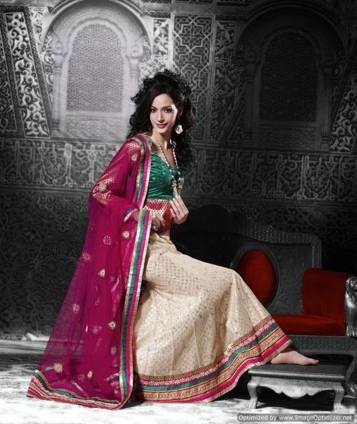 Cream Magenta Net Lehenga Choli Dupatta Fabric Only SC512