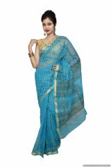 Designer Sky Blue Gold Border Kota Cotton Printed Saree KCS78
