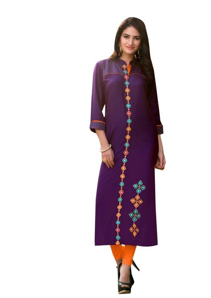 Designer Rayon Cotton Purple Embroidered Long Kurta Kurti Size XL SCKS201