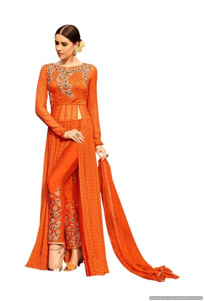 Designer Georgette Embroidered Dress Material (Semi Stitched_Orange)