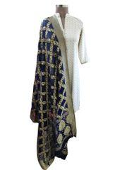 Designer Navy Blue Banarsi Georgette Weaven Dupatta