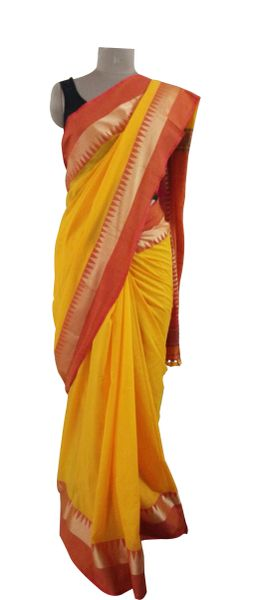 Exclusive Festival Temple Border Yellow Khadi Cotton Saree Khadi7