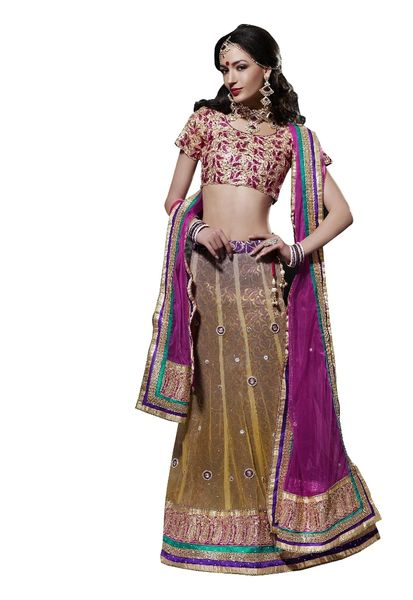 Beige Purple Net Lehenga Choli Dupatta Fabric Only SC510