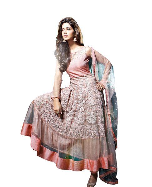 Designer Semi Stitched Peach Net Long Anarkali Dress Material SC2602