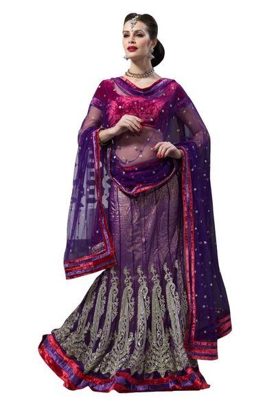 Purple Net Lehenga Choli Dupatta Fabric Only LC191