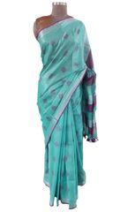 Silver Border Tissue Linen Cotton Weaven Saree (Turquoise_BLS07)