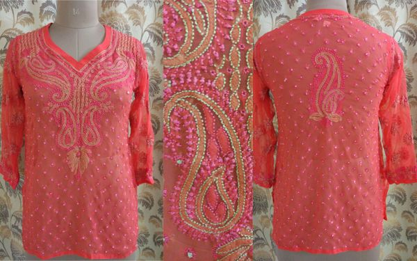 Designer Georgette Carrot Pink Chikankari Short Kurti Kurta SC906 SZ 38