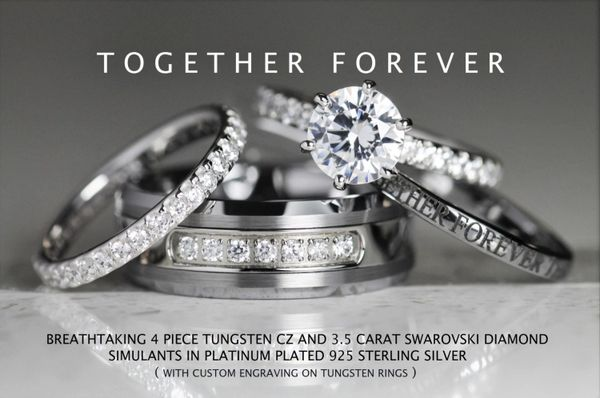 87c83d7a3bb1 Breathtaking His 8mm Tungsten CZ + Hers 925 Sterling Silver 3.5 Carat  Brilliant Swarovski Diamond CZ