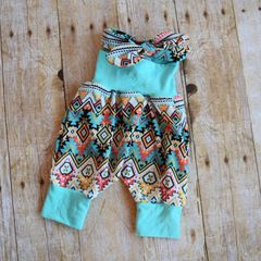 Aztec and Mint harem pants and headband set