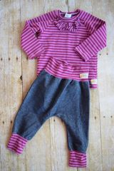 Harem Pants set with Ruffle Detail Raglan T