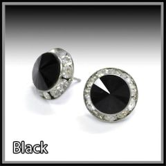 Black Crystal Post Earrings