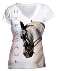 White Dressage Portrait Vneck