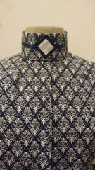 White and Navy patterned hunt blouse