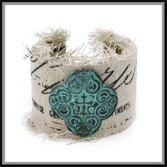 Vintage Letter Fabric Quatrefoil Cuff Bracelet.