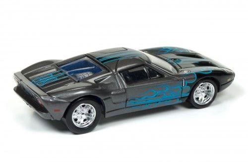 Johnny Lightning Street Freaks  Set D  Ford Gt Grey With Blue Flames