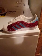 CUSTOMIZED BLUE AND RED STRIPPED GLITTER TENNIS SHOES