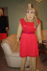 MASCOT SAUSHA WHO CAN ALSO TALK AND WALK WENT TO THE PARTY IN A RED DRESS Email for payment plan: clothadultdolls@hotmail.com