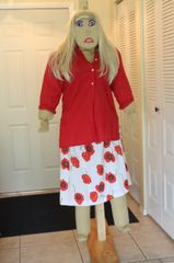 SAUSHA- in a 2 pc.set --red top, white and red skirt
