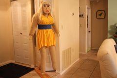 SAUSHA - THIS YELLOW SPLIT SKIRT DRESS IS PRETTY