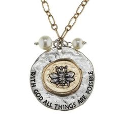 two-tone large scripture phrase disk necklace - bee