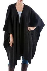 Alpaca Wool Solid Shawl in Black--Versatile Black