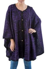 Purple Patterned 100% Baby Alpaca Fleece Ruana Cloak Purple Flora