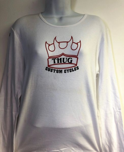 No Club Just Thug Long Sleeve White