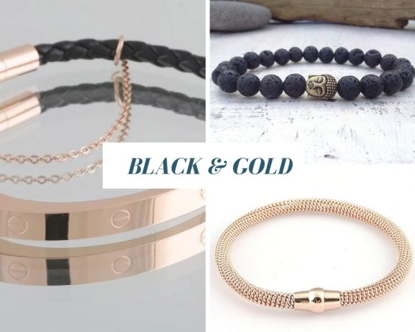 Gold & Black 3 Piece bracelet set - unisex