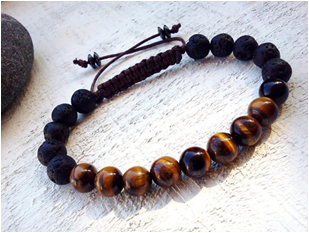 Tigers Eye and lava beaded stone bracelet
