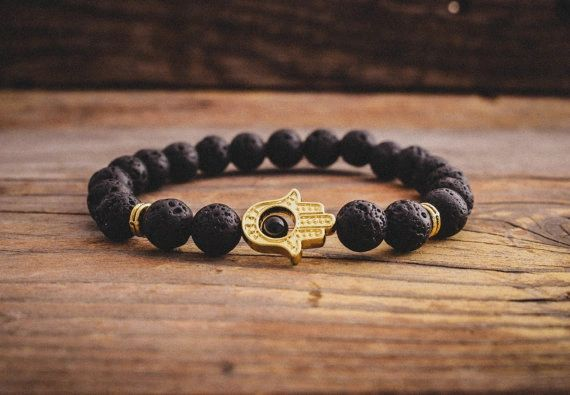 Lava stone beaded bracelet with Hamsa hand charm