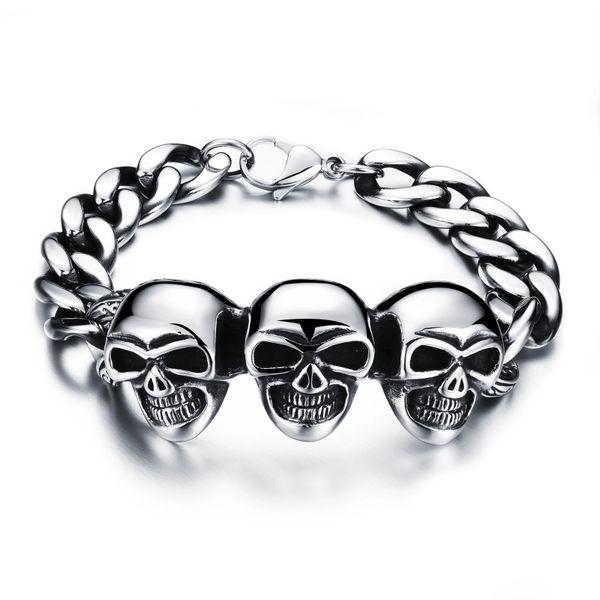 Stainless steel skull head chain bracelet