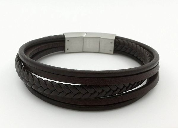 Multi strand leather bracelet with stainless steel closure brown