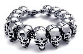 Men's skull stainless steel chain bracelet